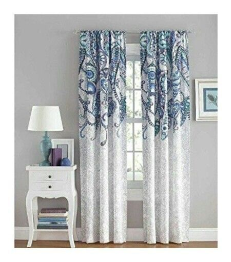 40 Awe Inspiring Paisley Curtains Window Treatments For You New Your Zone Ikat Aqua Gray White Lo Paisley Curtains Curtains Window Treatments Panel Curtains
