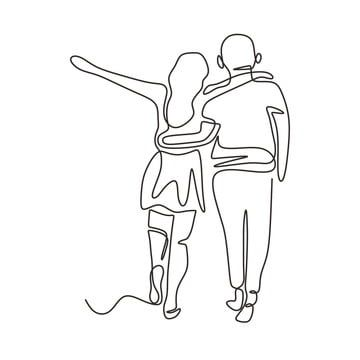 Continuous One Line Drawing Of Couple Walking Man And Woman In Love And Happy Vector Romantic Mome Line Drawing Couple Drawings Hand Drawn Vector Illustrations