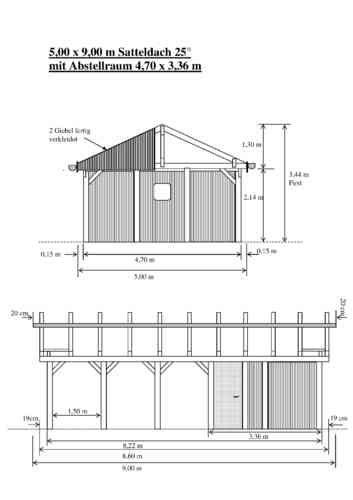 Carport 5 00 X 9 00 M Satteldach 25 Leimholz Si Mit Abstellraum In 2020 Satteldach Carport Dach