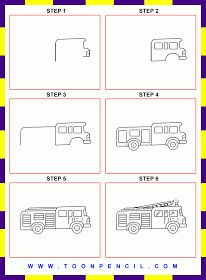 How To Draw A Fire Truck : truck, Engine, Ideas, Engine,, Drawing, Kids,