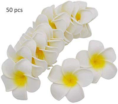 Tangtanger 50 Pcs Hawaiian Foam Artificial Plumeria Hawaiian Flower Petals For Wedding Party Decoration Lily Flower Flower Petals Wedding Party Decorations
