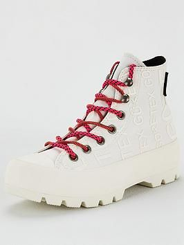 converse white & pink all star lugged gore tex trainers