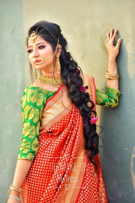 Bengali Bridal And Mehendi Floral Curly Braid Hairstyle Saree