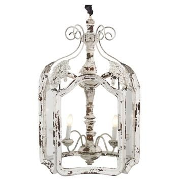 Amelie White Wash Shabby Chic Country Lantern Pendant Country