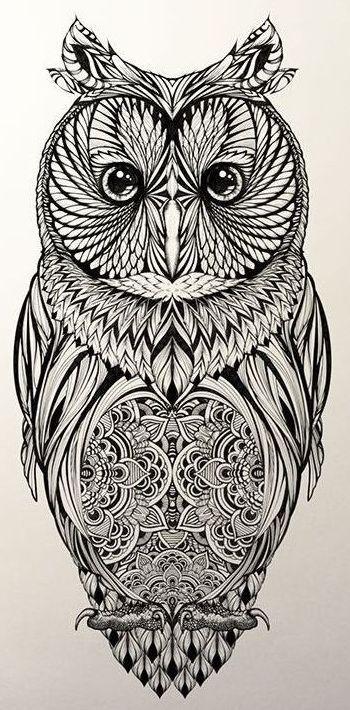 идея для татуировки совы с орнаментами Coloring