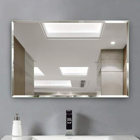 Xjrhb Toilet Mirror Simple Frameless Bathroom Mirror Edging Silver Mirror Bathroom Mir Mirror Wall Bathroom Bathroom Inspiration Modern