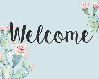 photograph about Printable Welcome Sign called succulents printable welcome indication, cactus bridal shower
