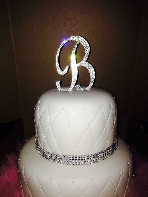 Birthdays Crystal Style First or Last Initial for Weddings Anniversaries or Graduations S Silver Sparkly Monogram Party Keepsake and Decoration Letter S Premium Metal Silver Rhinestone Cake Topper