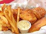 Beer Batter Fish and Spicy Chips with Lemon-Habanero Tartar Sauce and Serrano Vinegar