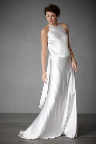 New Satin Vintage A line Sleeveless Jewel Neck Wedding Dress