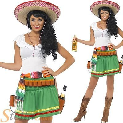 Womens Tequila Shooter Girl Costume FREE SOMBRERO Fancy Dress Funny Mexico