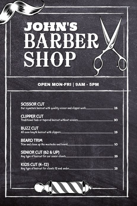 14++ Barbershop prices list info