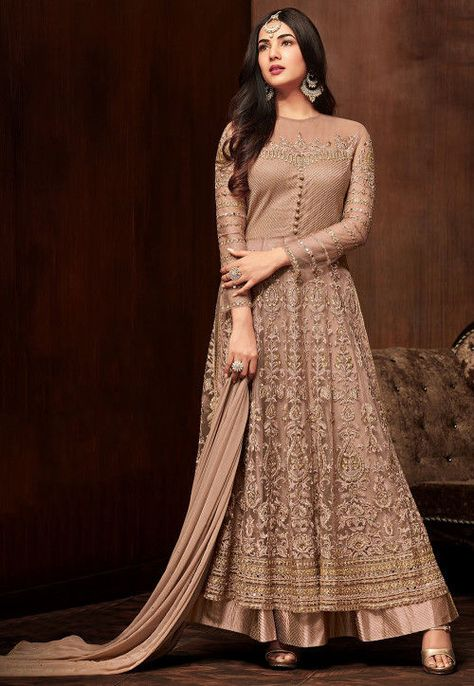 cc2816e14d Embroidered Net Abaya Style Suit in Rose Gold