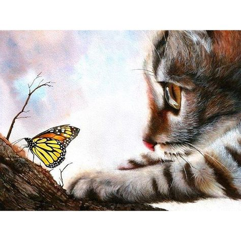 Diamond Painting - Butterfly With Little Cat  - Free worldwide shipping. New original designs every day. We also offer tools lighting pad, quick painting pens. Buy Diamond Painting on www.floatingstyles.com #diamondpainting #paintwithdiamonds #5ddiamondpainting #art #crafts #hobby #hobbies #hobbyist #crafter #diamondembroidery #diy #diamondpaintingdiy #diamonddotz #giftideas #gifts #giftsforher #crafting #anxietyrelief #artsandcrafts #arttherapy #diamondart #floatingstyles