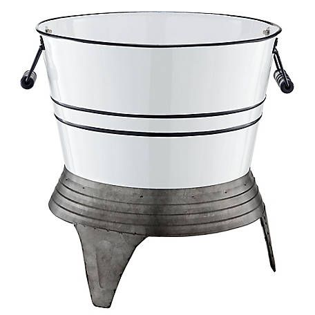 Red Shed White Metal Planter On Stand At Tractor Supply Co In 2020 Metal Planters White Metal