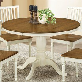 Sovereign Specialties I1840 48Dia Dining Table in Antique White / Oak
