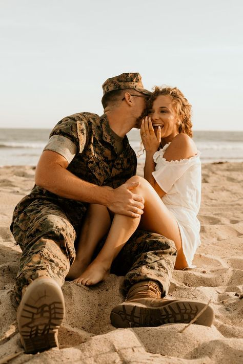 Southern California and Destination wedding photographer / Maya Lora Photo - Beach engagement session with this cute military couple - Military Couple Pictures, Couple Beach Pictures, Military Couples, Military Love, Couple Pics, Maternity Pictures, Couple Shoot, Navy Engagement Photos, Beach Engagement
