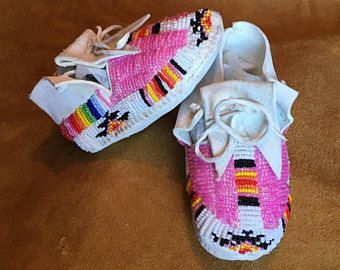 White Pink Beaded Baby Moccasins - Size