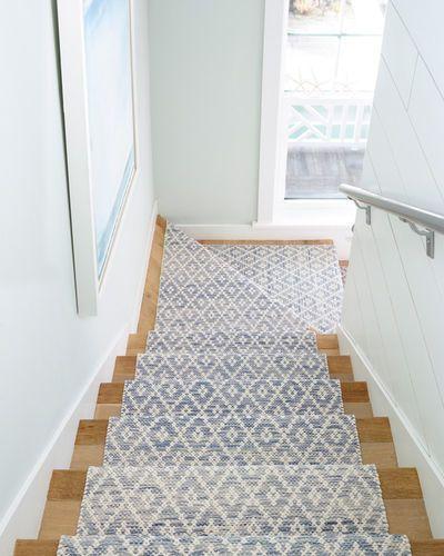 Melange Diamond Blue Woven Cotton Rug For Sale Beach House Interior Beach House Decor Stair Runner Carpet