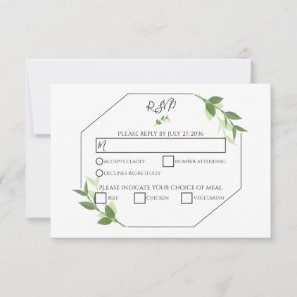 Greenery Garden Leaves Frame Wedding Rsvp Cards Zazzle Com Rsvp Wedding Cards Wedding Rsvp Wedding Frames