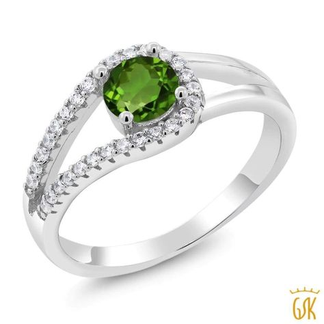 1.44 Ct Round Green Peridot Blue Sapphire 925 Sterling Silver Ring
