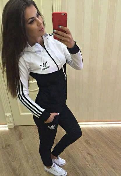 White  and black set , zip and hoodie top