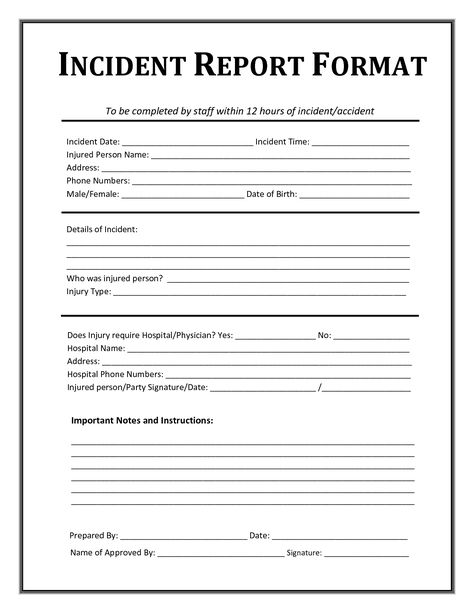 Image result for resident incident report free Forms Pinterest - injury incident report form template