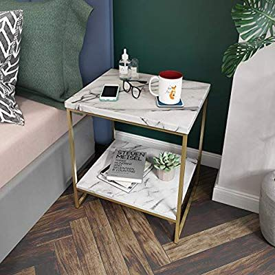 Amazon Com Roomfitters White Marble Print Side Table With Gold Metal Frame Living Room Bedr Bedroom Table Contemporary Dining Room Sets Marble Top End Tables