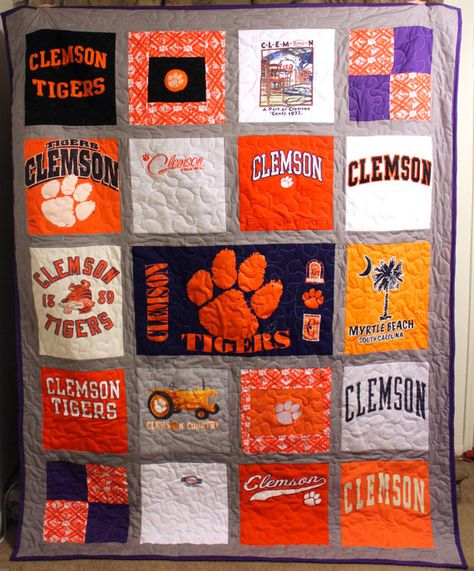 Custom T-Shirt Quilt | Clemson Tigers | Great Holiday or Graduation gift!