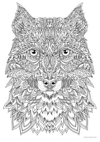Detailed Wolf Coloring Pages For Adults