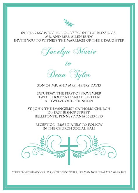 Christian Wedding Card Templates Wedding Gallery Pinterest - marriage invitation mail format