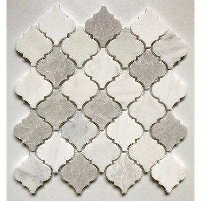 Cordelio Arabesque 12 X 12 Marble Mosaic Tile In White Cream Gray Marble Mosaic Tiles Arabesque Tile Mosaic Tiles