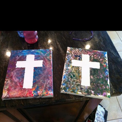 used canvas with tape and let the kids finger paint then pulled off the tape.