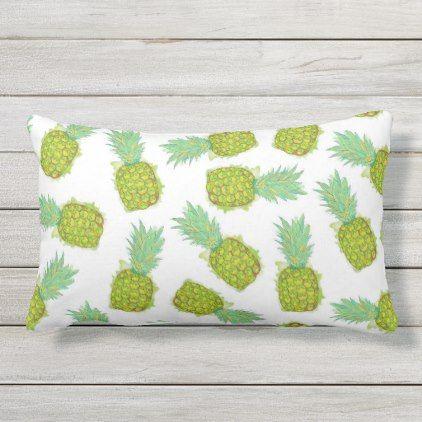 Tropical Summer Yellow Green Pineapples Fruit Lumbar Pillow Outdoor Pillows Modern Wedding Gifts Throw Pillows