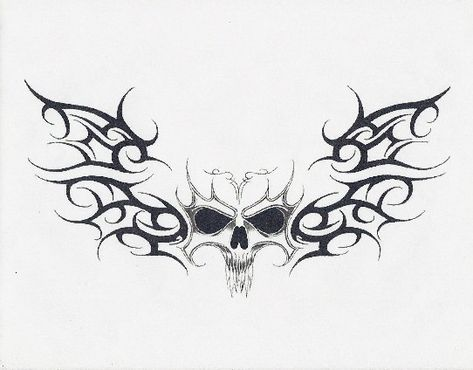 skull with tribal wigns by nativestyleart on DeviantArt Sketch Tattoo Design, Skull Tattoo Design, Skull Tattoos, Tatoos, Red Tattoos, Badass Tattoos, Cute Tattoos, Beautiful Tattoos, Tattoos For Guys