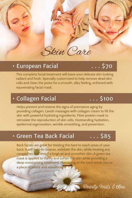 Skin Care Beauty Salon Posters Skin Care Salon Spa Prices