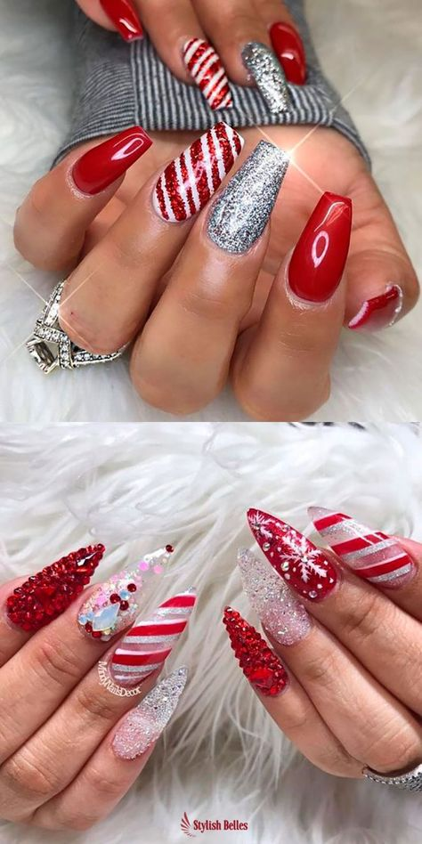 The Cutest And Festive Christmas Nail Designs For Celebration Christmas Nail Designs Acrylic Cute Christmas Nails Glitter Nail Art