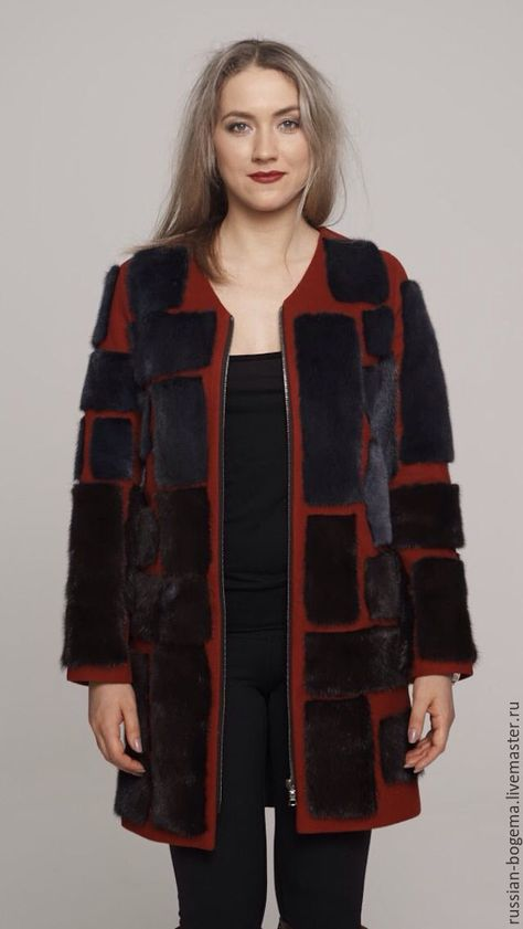 Купить Пальто в стиле Fendi - комбинированный, шерсть, шелк, мех, Норка, стиль, дизайнерский мех