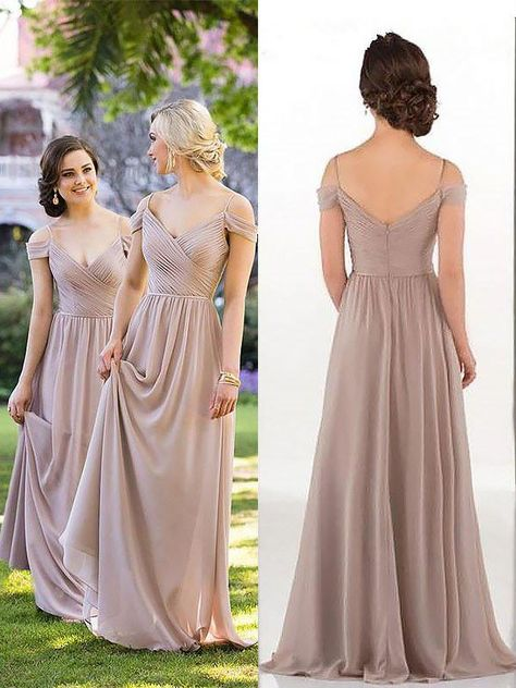 bc2fa9b3d3d5 A-Line/Princess Spaghetti Straps Sleeveless Floor-Length Chiffon Bridesmaid  Dresses