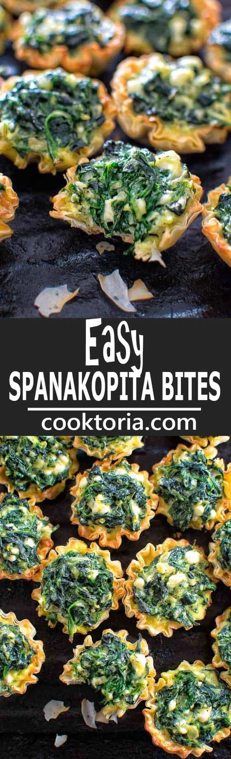 Make these adorable and delicious Easy Spanakopita Bites and surprise your guests and family with a new twist on a traditional Greek dish. #appetizer #snack #greek #spinach #recipeoftheday #healthyrecipe #party #partyfood
