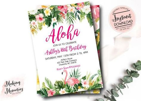 Aloha Tropical Instant download, invitation, birthday, bridal shower, birthday party, Hawaiian, Aloha Hawaiian flowers, island, hibiscus #tropicalbirthdayparty Aloha Tropical Instant download, invitation, birthday, bridal shower, birthday party, Hawaiian, Aloh