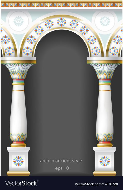 Fabulous Ancient Arch In Oriental Style Vector Image On Vectorstock Pillar Design Powerpoint Background Design Photo Collage Template