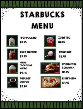This Was Made For A Special Needs Student Who Wants To Work At Starbucks These Are Real Menu Prices The Answer Starbucks Menu Starbucks Menu Prices Play Menu