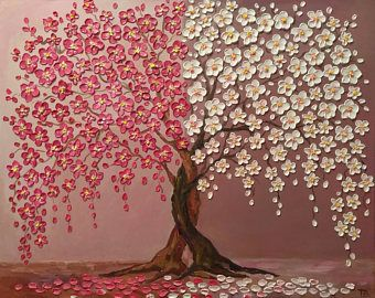 Final Payment 50 And Shipping Cherry Blossom Tree Serenity Original Oil Impasto Painting Tree Painting Abstract Tree Painting Tree Artwork