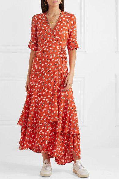 Ganni Floral Print Crepe De Chine Wrap Maxi Dress Net A Porter