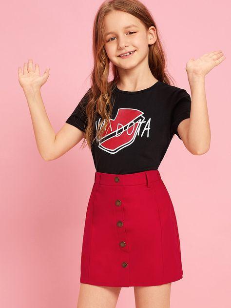 Girls Mixed Print Tee and Button Up Skirt Set | SHEIN UK