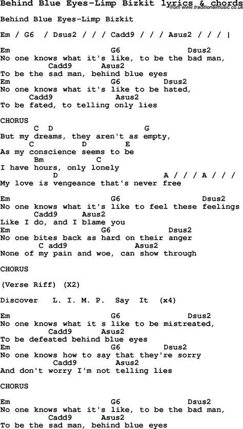 Team Free Will Behind Blue Eyes- Limp Bizkit | Poetry | Pinterest ...