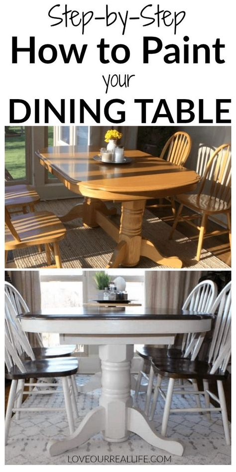 Kitchen table makeover with chalk paint and wood stain - chalk kitchen makeover paint .Kitchen table makeover with chalk paint and wood Trendy painting furniture Diy Black Annie Trendy painting furniture Diy Refinishing Kitchen Tables, Painted Kitchen Tables, Dining Table Makeover, Kitchen Table Makeover, Kitchen Paint, Diy Kitchen, Chalk Paint Dining Table, Refinish Table Top, Refurbished Kitchen Tables