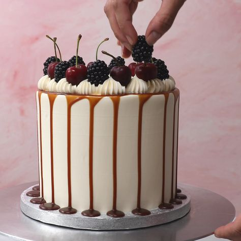 How to decorate a cake with salted caramel drip