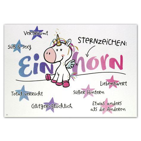 """Hope & Gloria Postkarte »Sternzeichen Einhorn« """"Sternzeichen: EINHORN - verträumt. süß & sexy. Total verrückt. Glitzer-glücklich. süßer Hintern. Liebenswert. Etwas anders als die Anderen."""""""